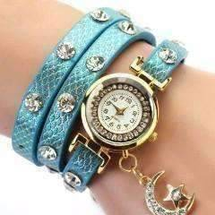 "Feshionn IOBI Watches Blue ""Look To The Moon And Stars"" Sparkly Wrap Bracelet Watch in Blue"