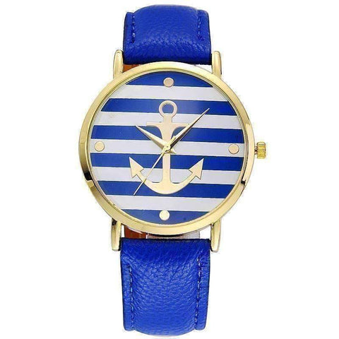 Feshionn IOBI Watches Blue ON SALE - Ahoy!  Anchor Watch in Blue and White Stripes