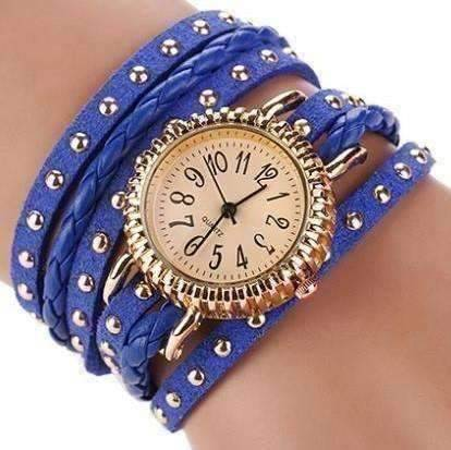 Feshionn IOBI Watches blue ON SALE - Bohemian Leather Wrap Bracelet Watch in Royal Blue