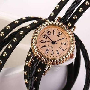 Feshionn IOBI Watches Bohemian Leather Wrap Bracelet Watch in Black