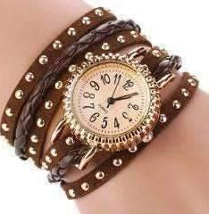 Feshionn IOBI Watches Bohemian Leather Wrap Bracelet Watch in Chocolate