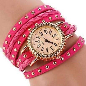 Feshionn IOBI Watches Bohemian Leather Wrap Bracelet Watch in Magenta