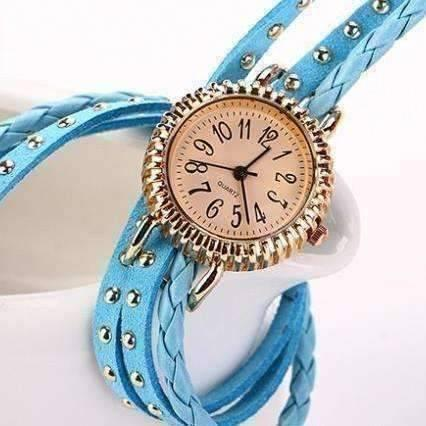 Feshionn IOBI Watches Bohemian Leather Wrap Bracelet Watch in Sky Blue