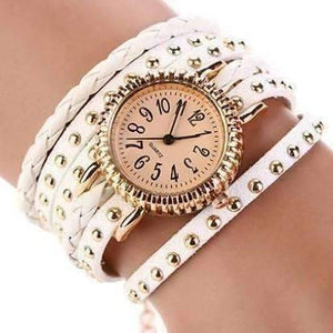 Feshionn IOBI Watches Bohemian Leather Wrap Bracelet Watch in White