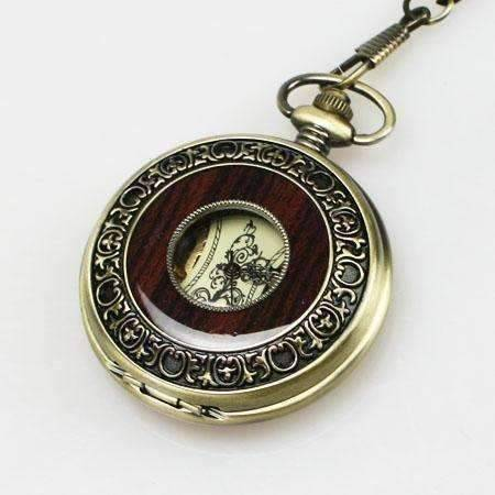 Feshionn IOBI Watches Bronze and Wood Antique Style Steampunk Skeleton Pocket Watch