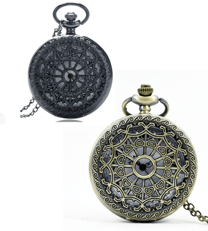 Feshionn IOBI Watches Bronze Heart Cut Out Detail Round Pocket Watch - Gunmetal or Bronze