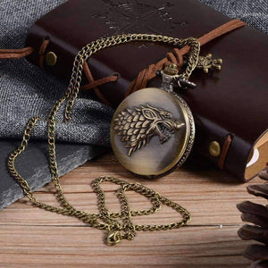 Feshionn IOBI Watches Bronze Stark Throne Wolf Embossed Bronze Pocket Watch - Silver or Bronze