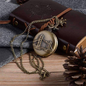 Feshionn IOBI Watches Bronze Tower Bridge Embossed Bronze Pocket Watch