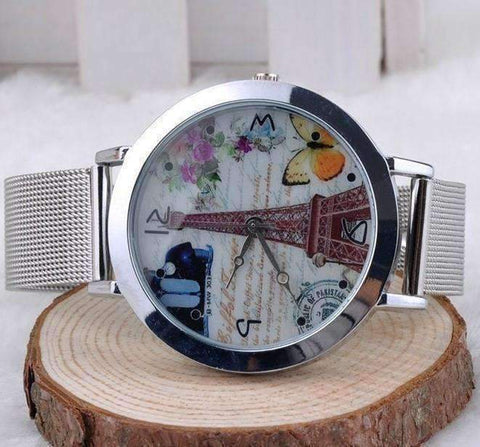 Feshionn IOBI Watches Butterfly Eiffel Tower Silver Mesh Band Watch
