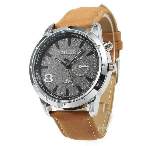 Feshionn IOBI Watches Camel Sueded Leather 8 Watch For Men or Women - Your Choice of Black, Camel, or Dark Grey