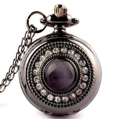 Cat's Eye Gunmetal Vintage Style Mirror Pocket Watch Necklace