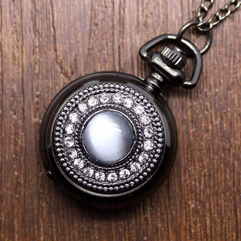 Feshionn IOBI Watches Cat's Eye Gunmetal Vintage Style Mirror Pocket Watch Necklace