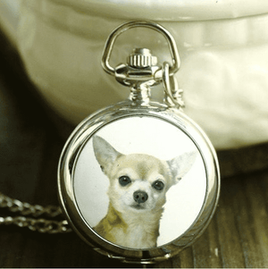 Feshionn IOBI Watches Chihuahua Chihuahua Enamel Mini Pocket Watch Necklace