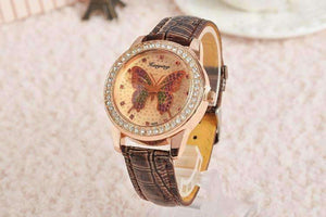 Feshionn IOBI Watches Chocolate CLEARANCE - Shimmering Butterfly Rose Gold Ladies Leather Watch