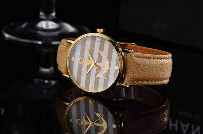 Feshionn IOBI Watches Caramel CLEARANCE - Ahoy! Anchor Watch in Caramel and White Stripes
