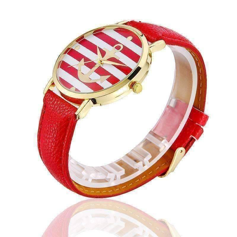 Feshionn IOBI Watches Red CLEARANCE - Ahoy! Anchor Watch in Red and White Stripes