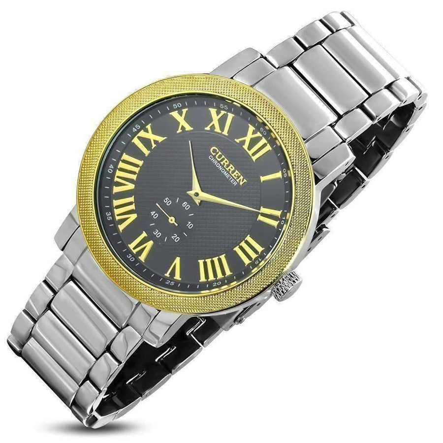Feshionn IOBI Watches Stainless Steel CLEARANCE - Midas Men's Stainless Steel Wrist Watch with Gold Mesh Stamped Bezel