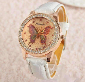 Feshionn IOBI Watches CLEARANCE - Shimmering Butterfly Rose Gold Ladies Leather Watch