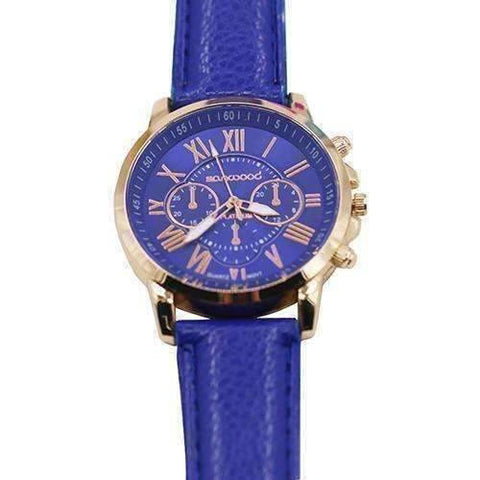 Feshionn IOBI Watches Cobalt Blue CLEARANCE - Rose Gold Classic Geneva Watch - Choose Your Color