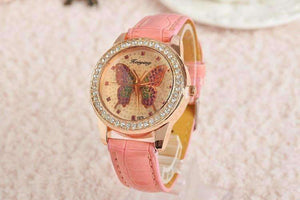 Feshionn IOBI Watches Coral CLEARANCE - Shimmering Butterfly Rose Gold Ladies Leather Watch
