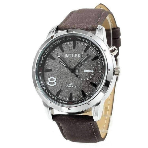 Feshionn IOBI Watches Dark Grey Sueded Leather 8 Watch For Men or Women - Your Choice of Black, Camel, or Dark Grey