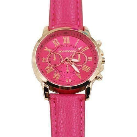 Feshionn IOBI Watches Deep Pink CLEARANCE - Rose Gold Classic Geneva Watch - Choose Your Color