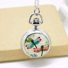 Feshionn IOBI Watches Dragonflies Enamel Mini Pocket Watch Necklace