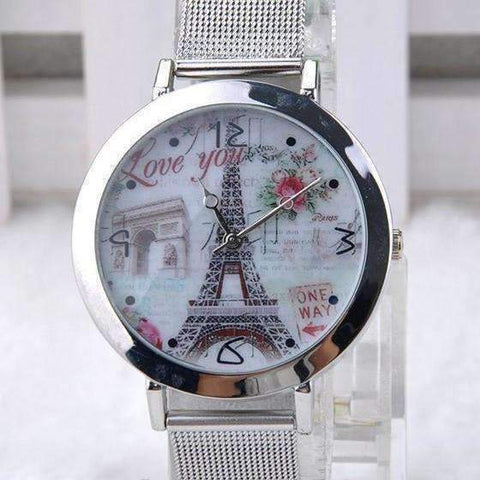 Feshionn IOBI Watches Eiffel Tower Silver Mesh Band Watch