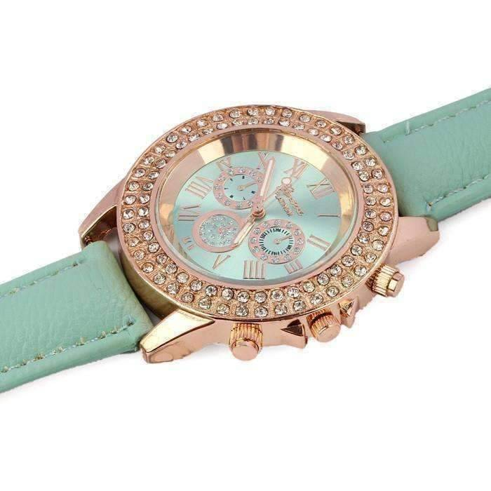 On Sale Extravagant Crystals Rose Gold Geneva Watch With