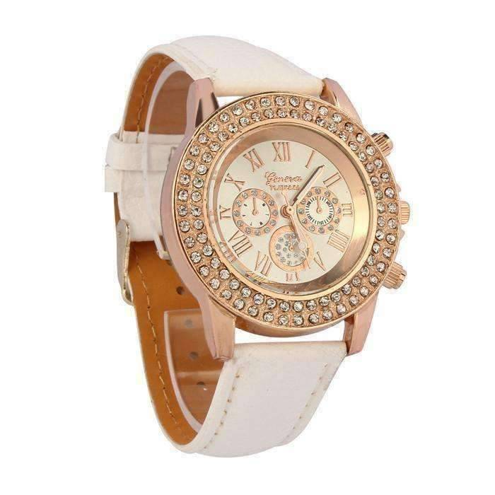 Feshionn IOBI Watches White Extravagant Crystals Rose Gold Geneva Watch With Matching Face ~ Four Fun Colors to Choose!