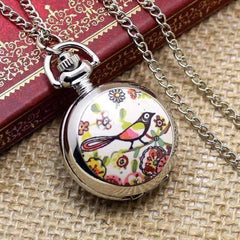 Feshionn IOBI Watches Floral Folk Art Bird Enamel Mini Pocket Watch Necklace