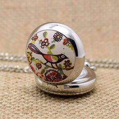 Folk Art Bird Enamel Mini Pocket Watch Necklace