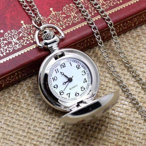 Feshionn IOBI Watches Folk Art Bird Enamel Mini Pocket Watch Necklace