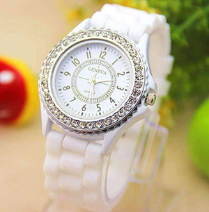 Feshionn IOBI Watches Fresh White Sparkly Silky Silicone Watch - Choose Your Color