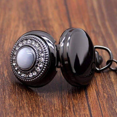 Feshionn IOBI Watches Gunmetal Cat's Eye Gunmetal Vintage Style Mirror Pocket Watch Necklace