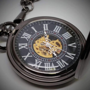 Feshionn IOBI Watches Gunmetal Gunmetal Antique Style Skeleton Movement Pocket Watch
