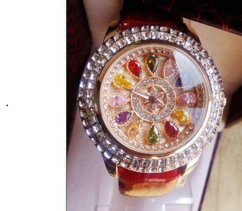 Feshionn IOBI Watches Kaleidoscope of Colors Deluxe Crystal & Leather Wrist Watch ~ Four Colors to Choose!