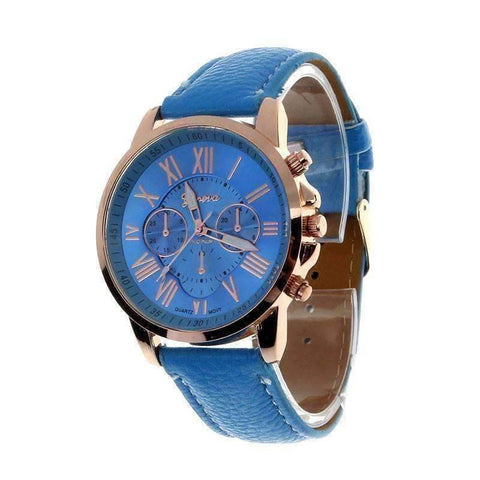 Feshionn IOBI Watches Light Blue CLEARANCE - Rose Gold Classic Geneva Watch - Choose Your Color