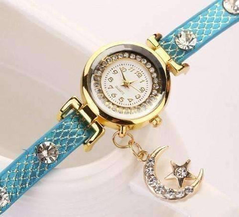 "Feshionn IOBI Watches ""Look To The Moon And Stars"" Sparkly Wrap Bracelet Watch in Blue"