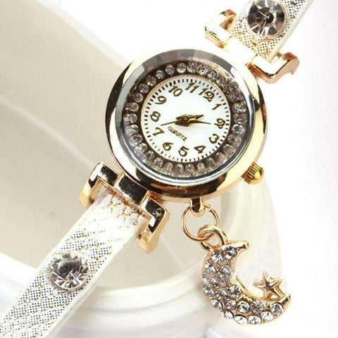"Feshionn IOBI Watches ""Look To The Moon And Stars"" Sparkly Wrap Bracelet Watch in White"
