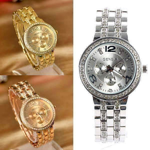 Feshionn IOBI Watches Luxury Geneva Stainless Steel Watch with Diamond Bezel and Inlaid Bracelet Link Band
