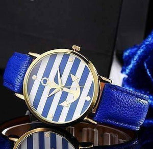 Feshionn IOBI Watches ON SALE - Ahoy!  Anchor Watch in Blue and White Stripes