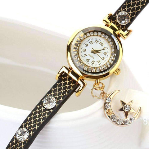 quartz dress leather romantic wrist from sparkly in full watch relojes girls elegant item starry floral s designer crystals women watches real