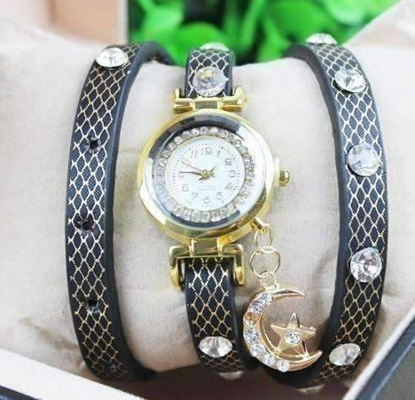 "Feshionn IOBI Watches ON SALE - ""Look To The Moon And Stars"" Sparkly Wrap Bracelet Watch in Black"
