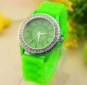 Feshionn IOBI Watches ON SALE - Sparkly Silky Silicone Watch in Neon Green