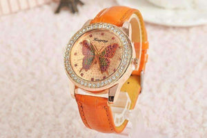 Feshionn IOBI Watches Orange CLEARANCE - Shimmering Butterfly Rose Gold Ladies Leather Watch