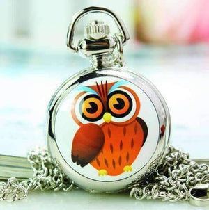 Feshionn IOBI Watches Owl Whimsical Owl Enamel Mini Pocket Watch Necklace