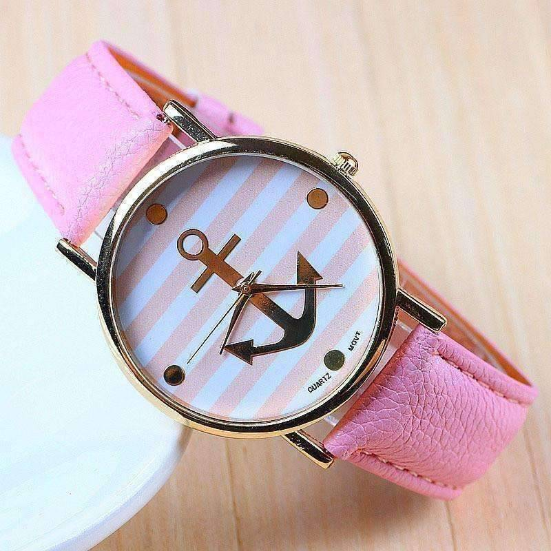 Feshionn IOBI Watches Pikn CLEARANCE - Ahoy! Anchor Watch in Pink and White Stripes
