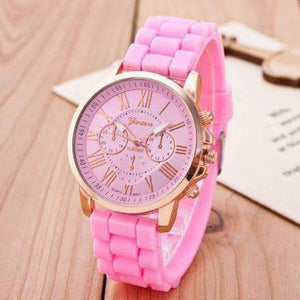 Feshionn IOBI Watches Pink Casual Elegance Rose Gold Geneva Watch with Silicone Band ~ 3 Colors to Choose