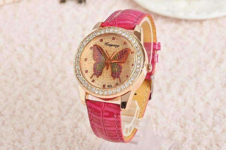 Shimmering Butterfly Rose Gold Ladies Leather Watch